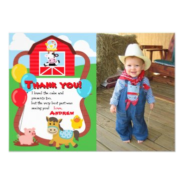 Barnyard Birthday Farm Animal Thank You with Photo Card