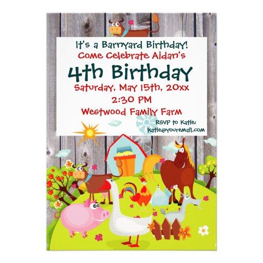 how to barnyard farm animals barnwood birthday invitation luggage tags