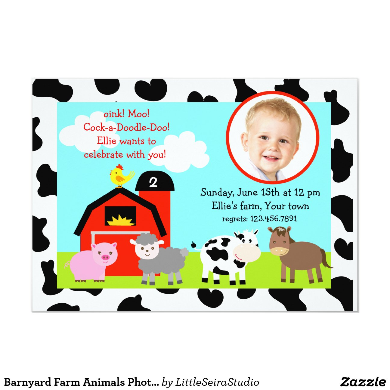 Barnyard Farm Animals Birthday Invitations