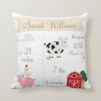 Barnyard Farm Birth Announcement Pillow