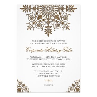 Baroque Gold Glitter Look Holiday Party Invite