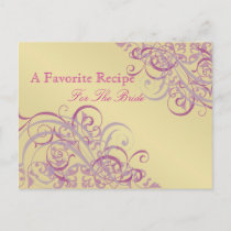 Baroque Pink & Gold Bridal Shower Recipe Card Postcard