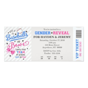 Baseballs or Bows Gender Reveal Ticket Style Invitation