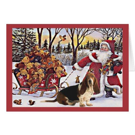 Basset Hound Christmas Card Santa Bears In Sleigh Zazzle