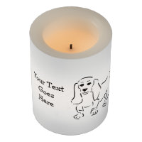 Basset Hound Ink Drawing - Customizable Text Flameless Candle