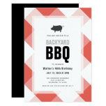 BBQ Pig Roast Red Gingham Adult Birthday Invitation