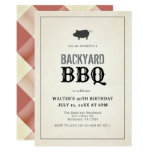BBQ Pig Roast Vintage Red Gingham Adult Birthday Invitation