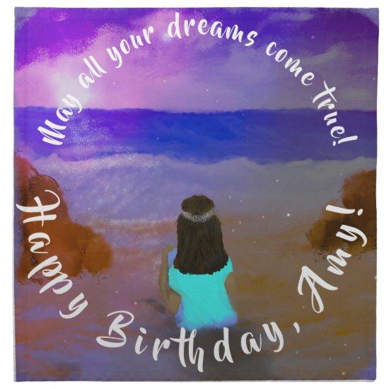 B'day Big Dreamer! Girls Beach Birthday Painting Cloth Napkin