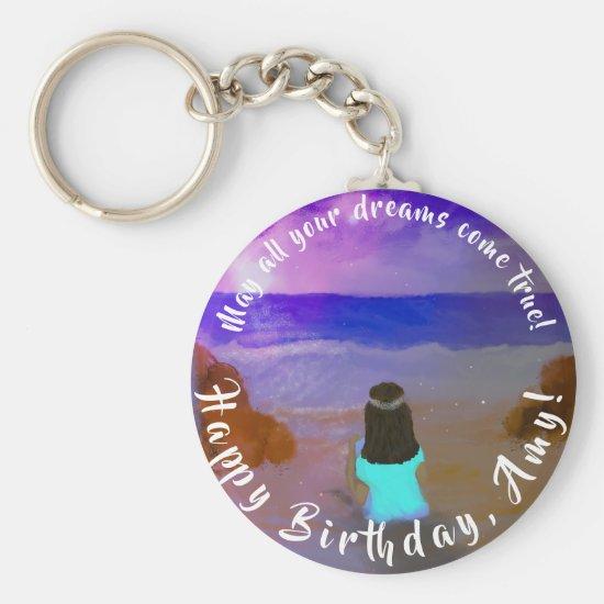 B'day Big Dreamer! Girls Beach Birthday Painting Keychain