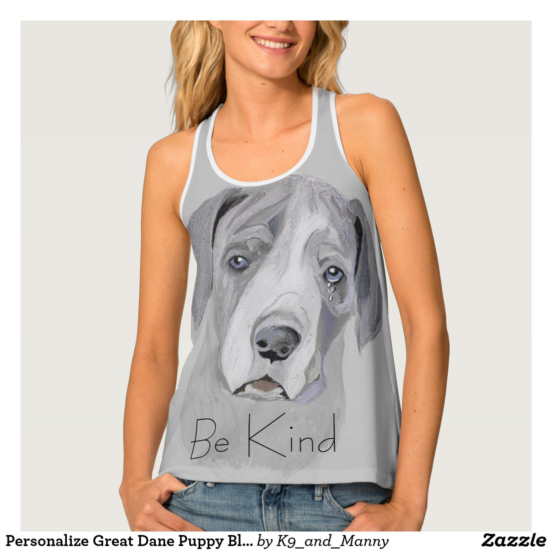 Be Kind Adorable Great Dane Puppy Black and White Tank Top