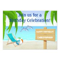 Beach and Ocean Birthday Invitation