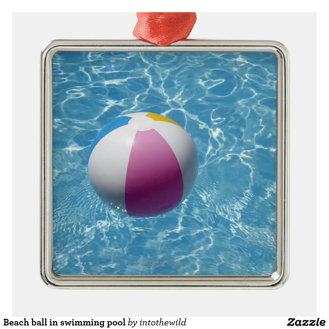 Beach Ball In Swimming Pool Square Metal Christmas