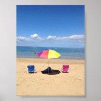 Beach chairs and Umbrella Hawaii Ocean Poster | Zazzle