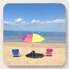 Beach Chairs And Umbrella Stackable Chair Covers Australia Ocean Scene Hawaii Coasters Zazzle Com