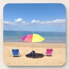 Beach Chairs With Umbrellas Herman Miller Aeron Chair Umbrella Ocean Scene Hawaii Coasters Zazzle Com