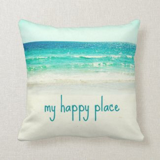 Beach Happy Place Word Pillow