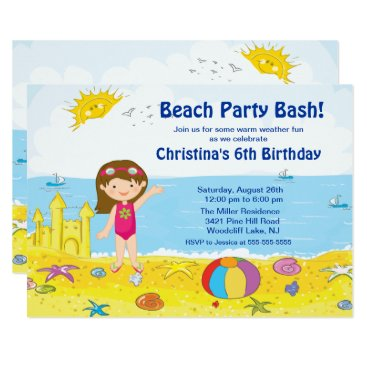 Beach Party Girl Swimming Birthday Invitation