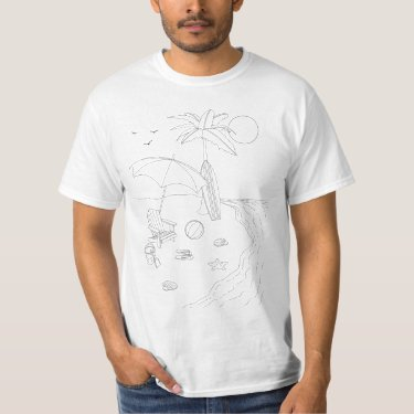 Beach Scene Adult Coloring Shirt
