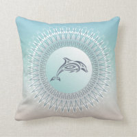 Beach Style Dolphin Mandala Throw Pillow