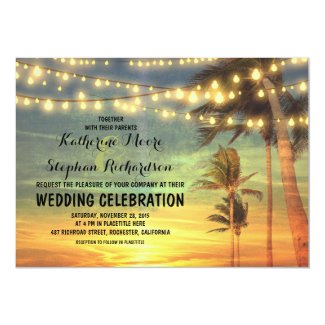 "beach sunset and string lights wedding invitation 5"" x 7"" invitation card"