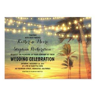 "beach sunset and string lights wedding invitation 5"" x 7"" invitation card"
