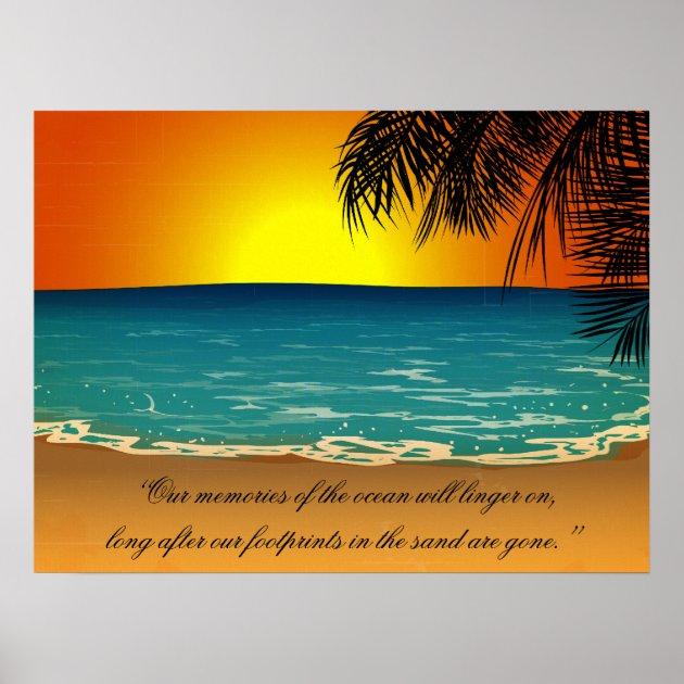 Beach Sunset Palm Trees Beach Quote Poster  Zazzlecom