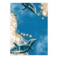 Beach theme - wedding dolphin elegant party card