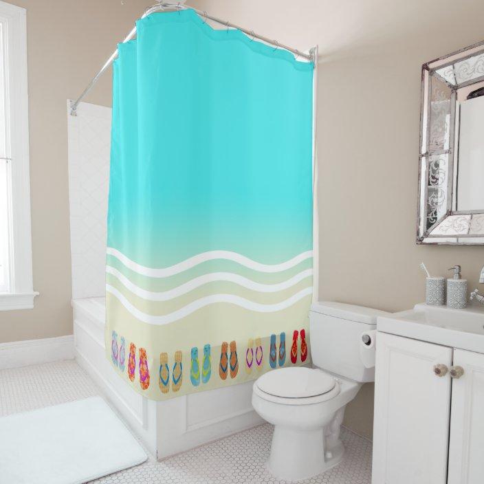 beach waves flip flops shower curtain zazzle com