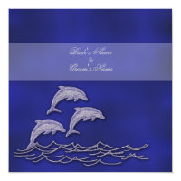 Beach wedding menu dolphin theme card