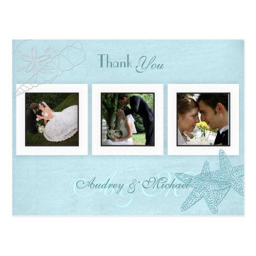 Beach Wedding Photos Thank you postcards