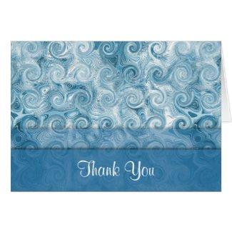 Beachy Blue Swirls: Thank You Note Card