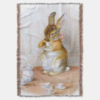 Beatrix Potter: Bunny Girl Drinking Tea Throw