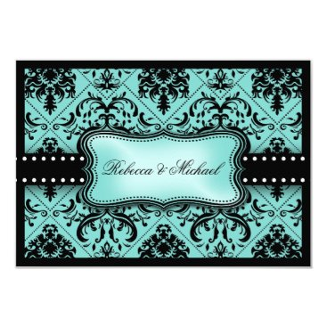 Beautiful Aqua Blue & Black Damask RSVP Cards