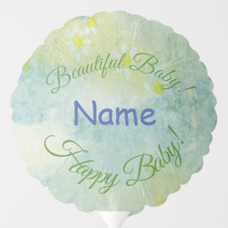 Beautiful Baby Soft Blue, Yellow Pink Watercolor