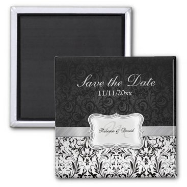 Beautiful Black and White Damask Save the Date Magnet