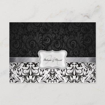 Beautiful Black and White Damask Wedding RSVP card