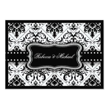 Beautiful Black and White Vintage Damask Invitation