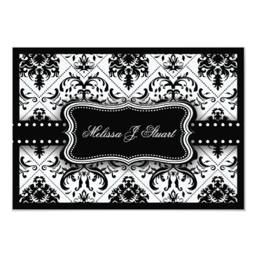 Beautiful Black and White Vintage Damask Invites