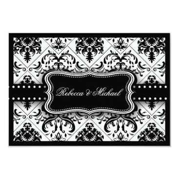 Beautiful Black & White Vintage Damask RSVP Cards