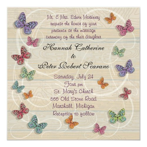 Beautiful Butterfly Wedding Invitation