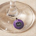 Beautiful Dark Purple glitter sparkles Monogram Wine Glass Charm