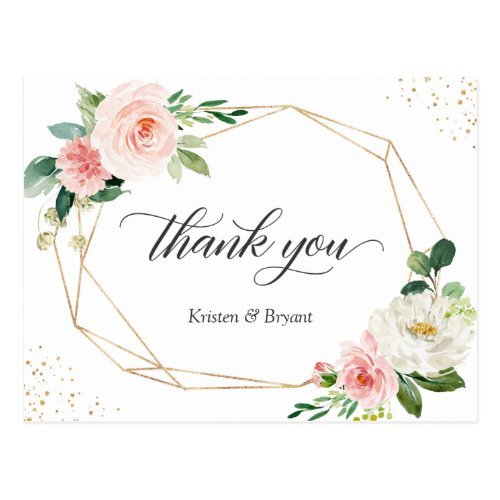 Beautiful Elegant Gold Blush Floral Thank You Postcard