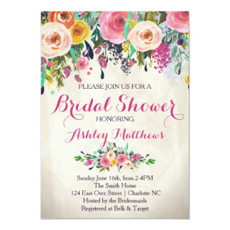 Beautiful Fl Bridal Shower Invitation Baby Card