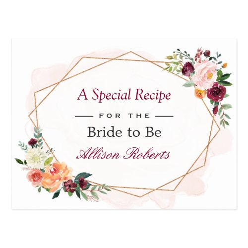 Beautiful Floral Gold Frame Bridal Shower Recipe Postcard