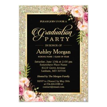 Beautiful Floral Gold Sparkles Graduation Party Invitation