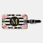Beautiful Floral Wrap Black White Stripes Monogram Luggage Tag