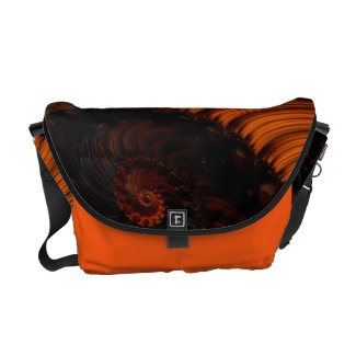 Beautiful fluorescent Orange Fractal Rickshaw Bag