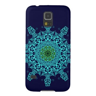 Beautiful lace mandala aqua pattern galaxy s5 covers