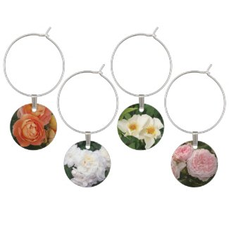 Beautiful Pastel Roses Wine Charms