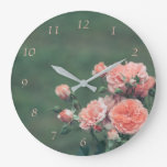 Beautiful pink roses on a natural green background large clock